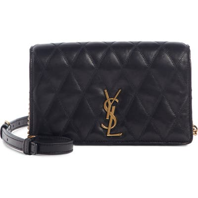 Saint Laurent Angie Quilted Lambskin Leather Crossbody Bag - Black