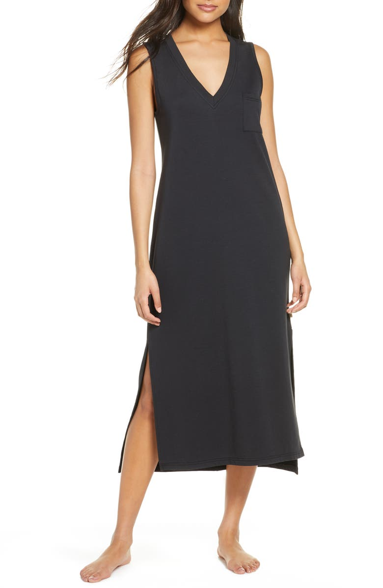 UGG<SUP>®</SUP> Jaydn French Terry Nightgown, Main, color, BLACK