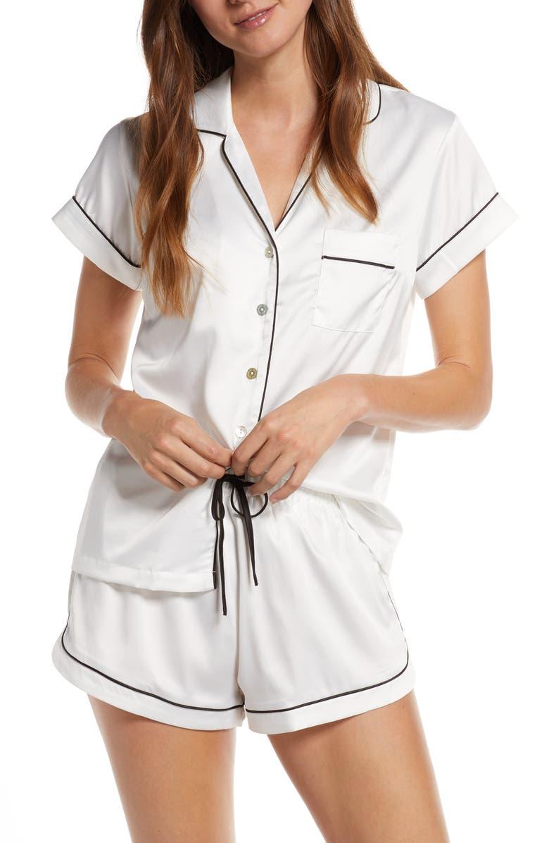 HOMEBODII Satin Short Pajamas, Main, color, WHITE