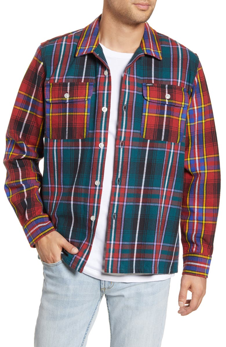 OBEY Capitol Plaid Button-Up Flannel Shirt Jacket, Main, color, DEEP TEAL MULTI