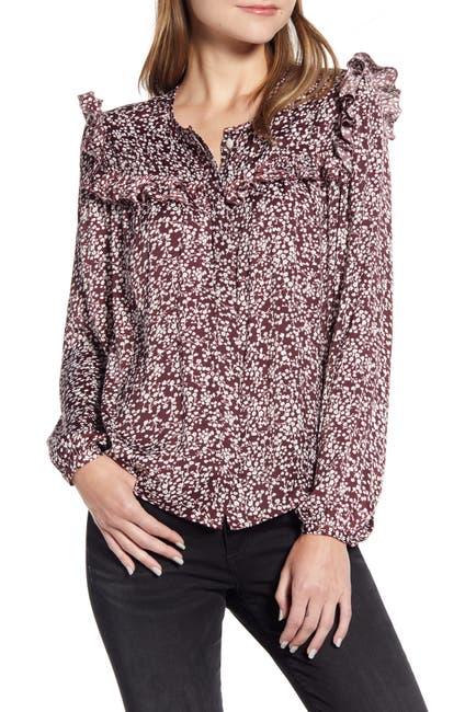 Image of Rebecca Minkoff Selandra Floral Ruffled Long Sleeve Blouse