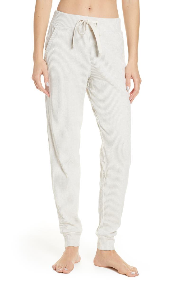 ALO Muse Ribbed High Waist Sweatpants, Main, color, BONE HEATHER