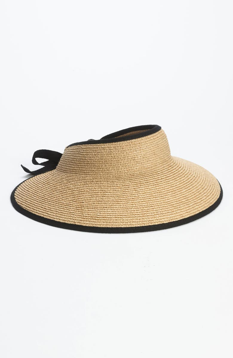 HELEN KAMINSKI 'Mita' Packable Raffia Visor, Main, color, NATURAL/ MIDNIGHT