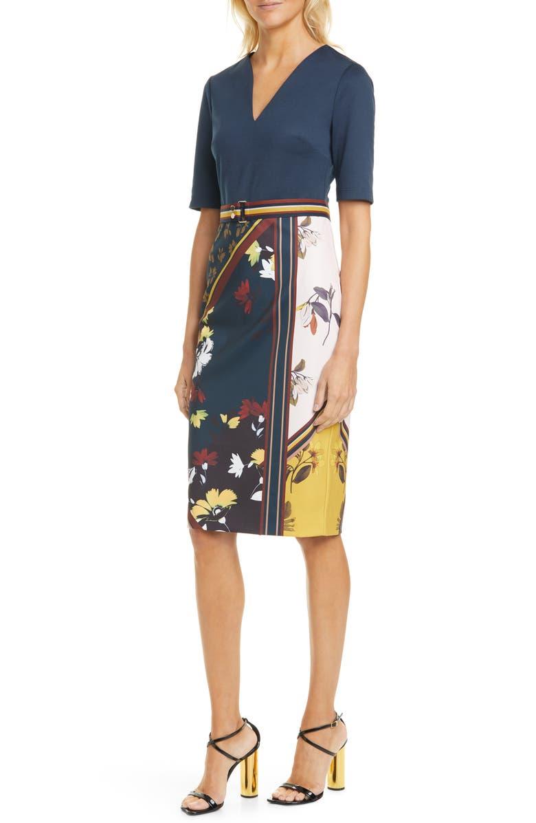 TED BAKER LONDON Madiiy Savanna V-Neck Body-Con Dress, Main, color, DARK BLUE