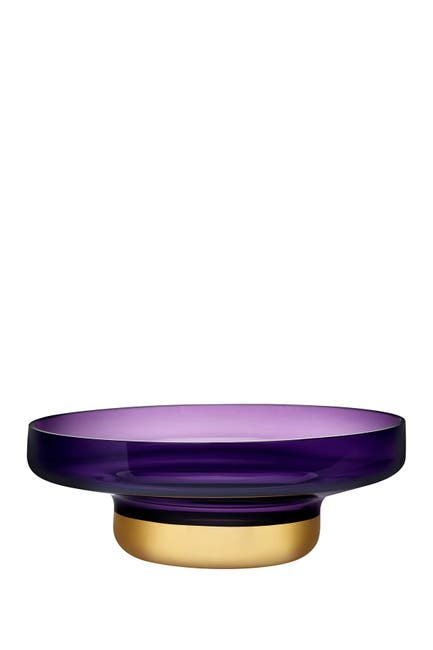 Image of Nude Glass Contour Bowl - Wide with Purple Top and Golden Base