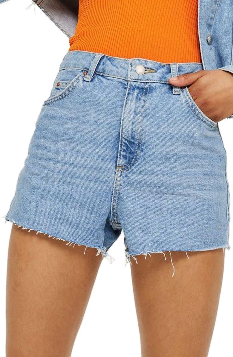 TOPSHOP Denim Mom Shorts, Main, color, 420