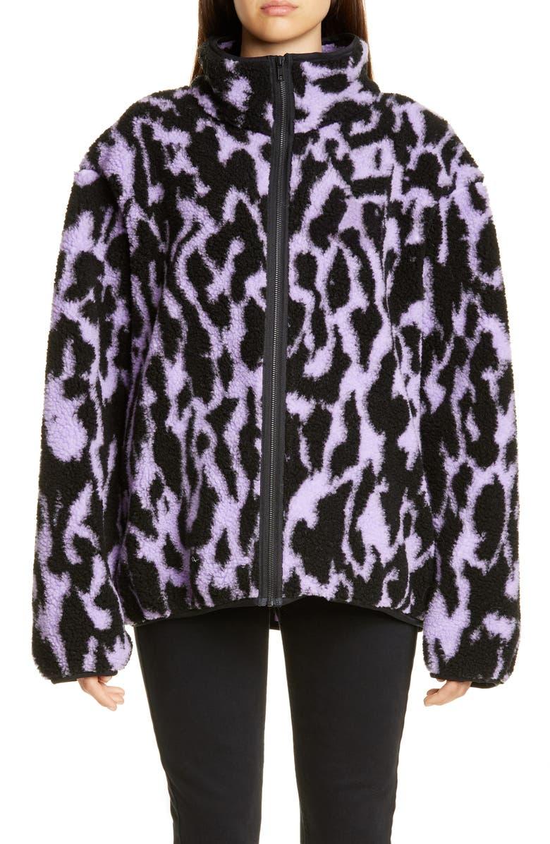 ASHLEY WILLIAMS Juju Animal Print Fleece Jacket, Main, color, LILAC ANIMAL