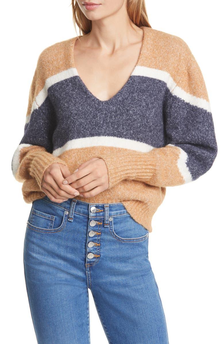 VERONICA BEARD Emilia Stripe V-Neck Sweater, Main, color, CAMEL
