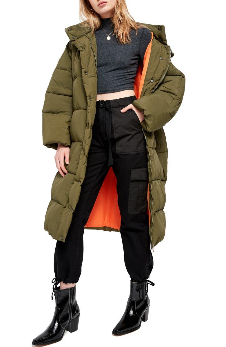 BDG URBAN OUTFITTERS Longline Puffer Coat, Main, color, KHAKI