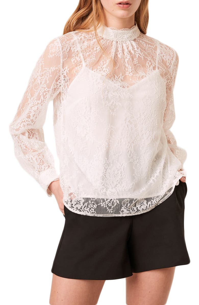 FRENCH CONNECTION Apunda Lace Top, Main, color, SUMMER WHITE