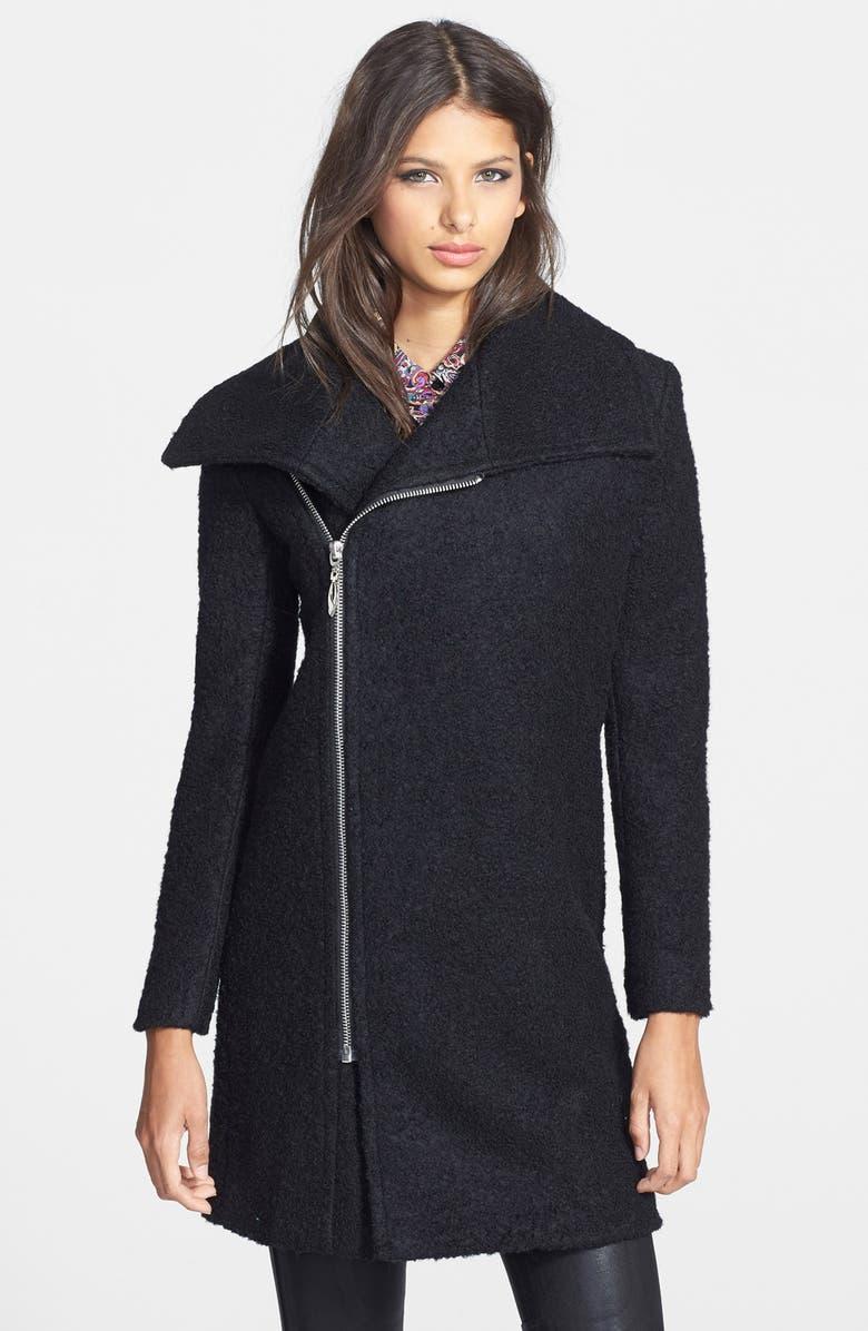 GLAMOROUS Asymmetrical Zip Coat, Main, color, 001