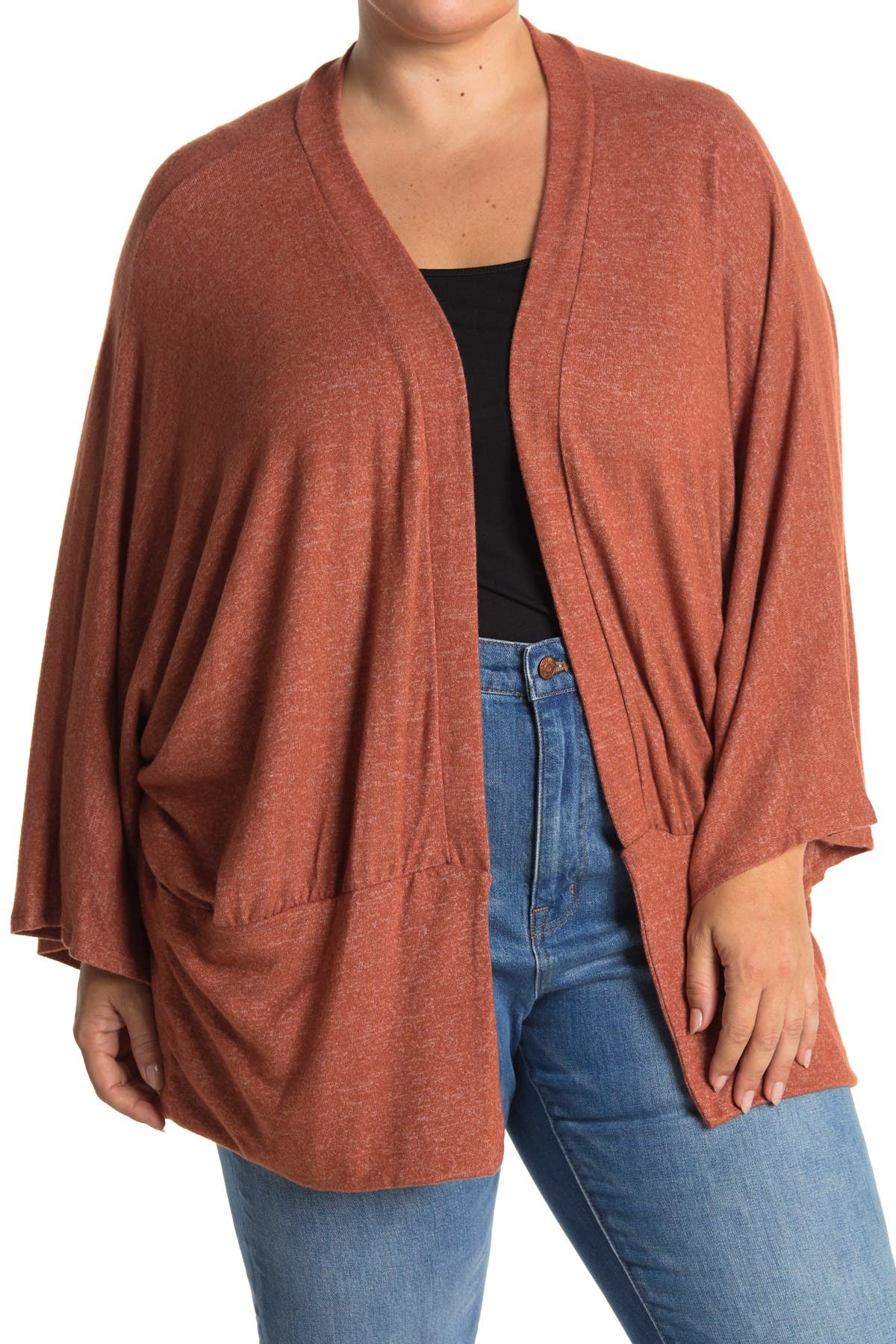 Image of ALL IN FAVOR Two-Tone Hacci Cardigan Sweater