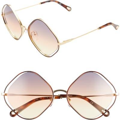 Chloe Poppy 57Mm Diamond Sunglasses - Havana/ Grey Orange Yellow