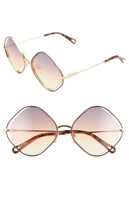 Chloé Sunglasses POPPY 57MM DIAMOND SUNGLASSES - HAVANA/ GREY ORANGE YELLOW