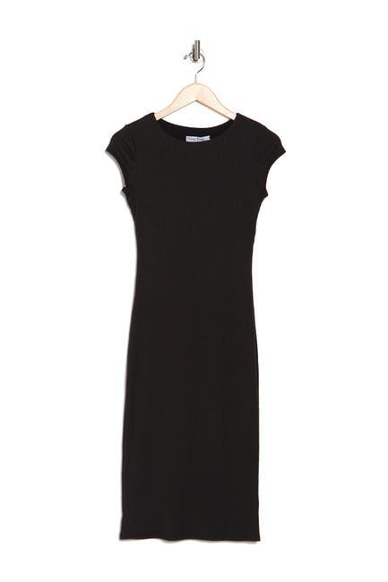 Image of Velvet Torch Cap Sleeve Scoop Neck Midi Dress