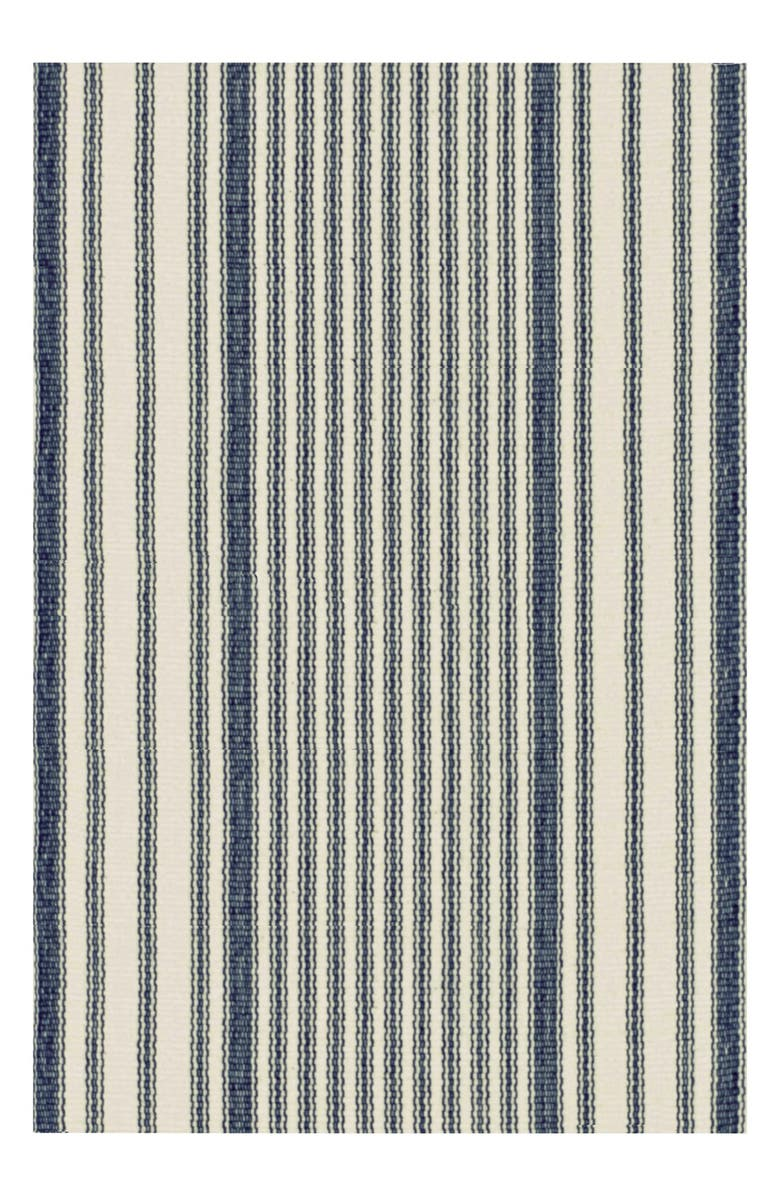 DASH & ALBERT Stripe Ticking Rug, Main, color, BLUE/ MULTI