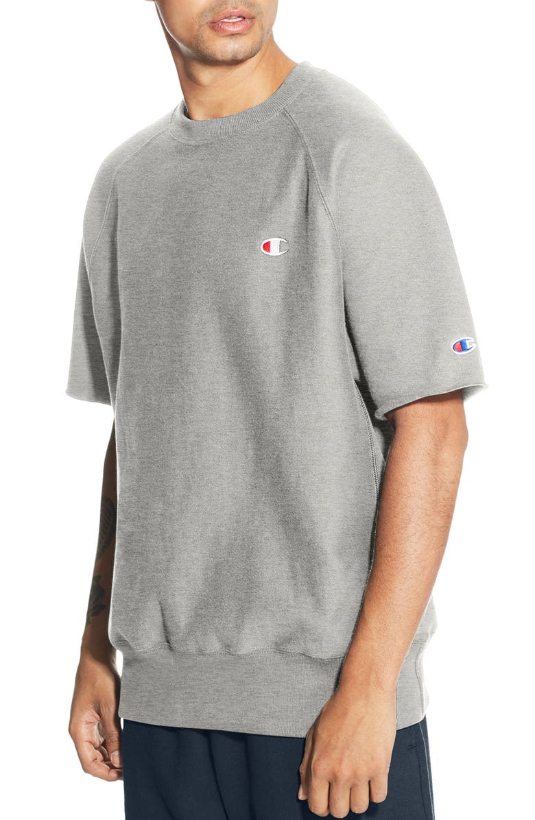 CHAMPION Reverse Weave<sup>®</sup> Short Sleeve Sweatshirt, Main, color, OXFORD GRAY