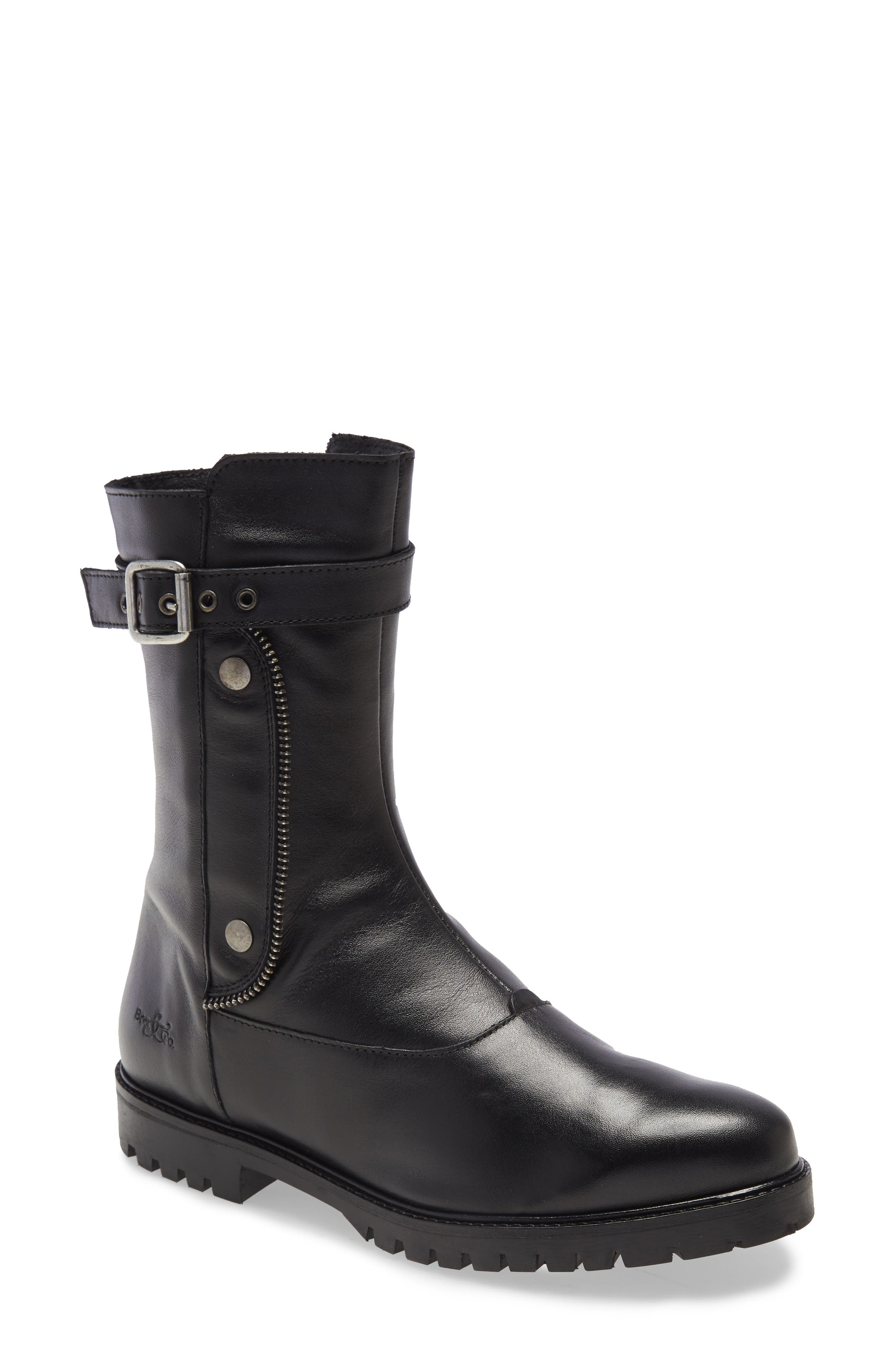 A buckle strap and decorative zipper trim add moto-chic touches to a smooth leather boot that\\\'s a versatile, waterproof standby. Style Name: Bos. & Co Bash Waterproof Boot (Women). Style Number: 6086130. Available in stores.