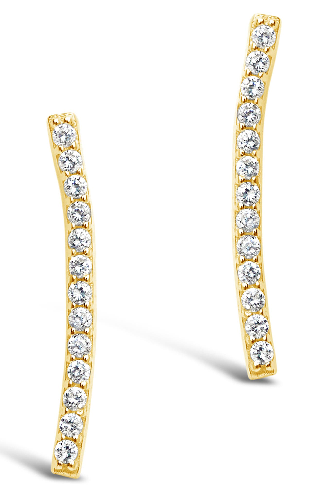 Image of Sterling Forever 14K Gold Vermeil Plated Sterling Silver Essential Pave Bar Stud Earrings