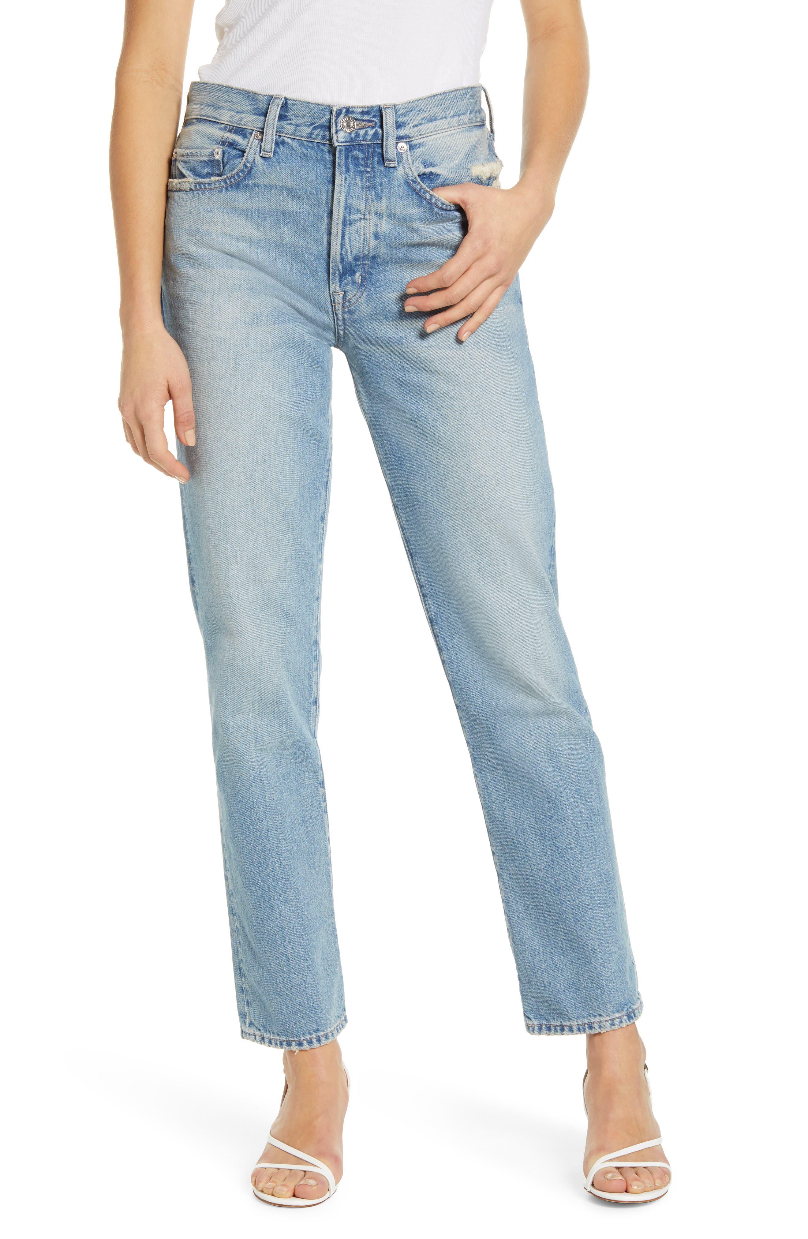 Cai High Waist Ankle Straight Leg Jeans