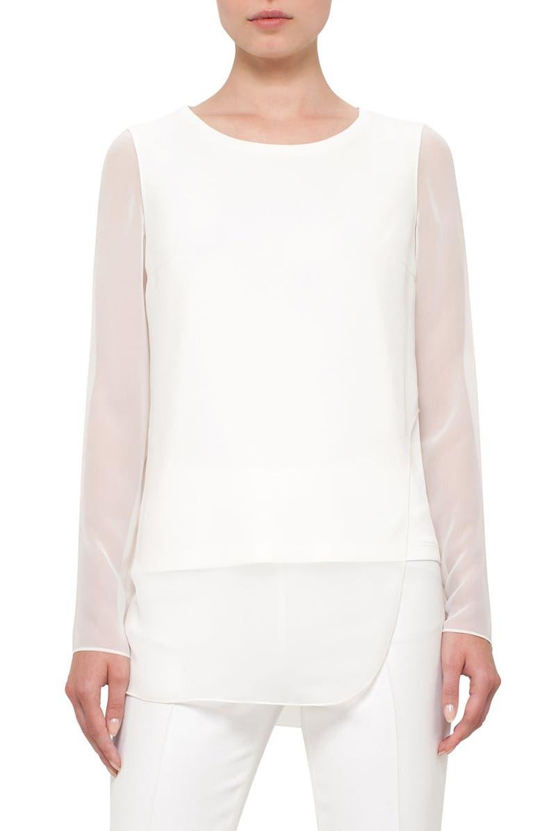 AKRIS PUNTO Sheer Panel Shirt, Main, color, 900