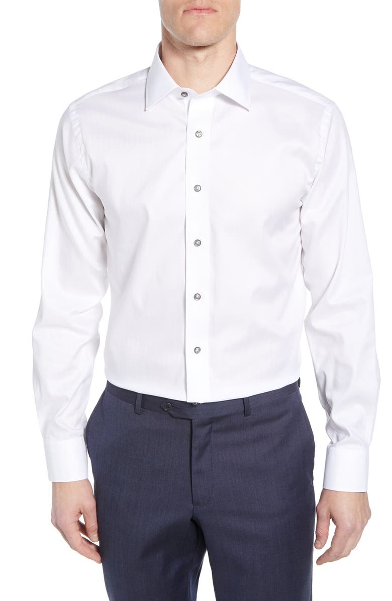 LORENZO UOMO Trim Fit Herringbone Dress Shirt, Main, color, WHITE