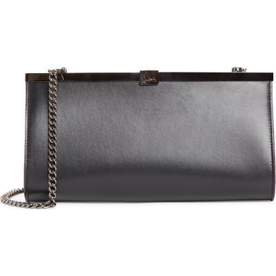 Christian Louboutin Palmette Calfskin Leather Frame Clutch - Black