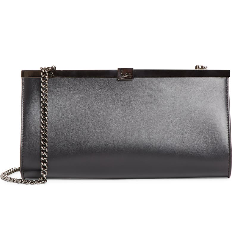 CHRISTIAN LOUBOUTIN Palmette Calfskin Leather Frame Clutch, Main, color, BLACK