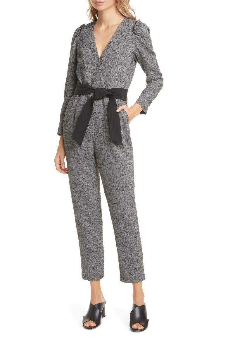 TAILORED BY REBECCA TAYLOR Long Sleeve Herringbone Jumpsuit, Main, color, BLACK/ CREAM