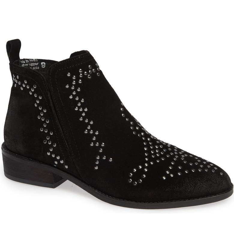SBICCA Kasara Studded Ankle Bootie, Main, color, BLACK LEATHER