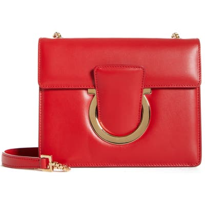 Salvatore Ferragamo Small Thalia Leather Shoulder Bag - Red