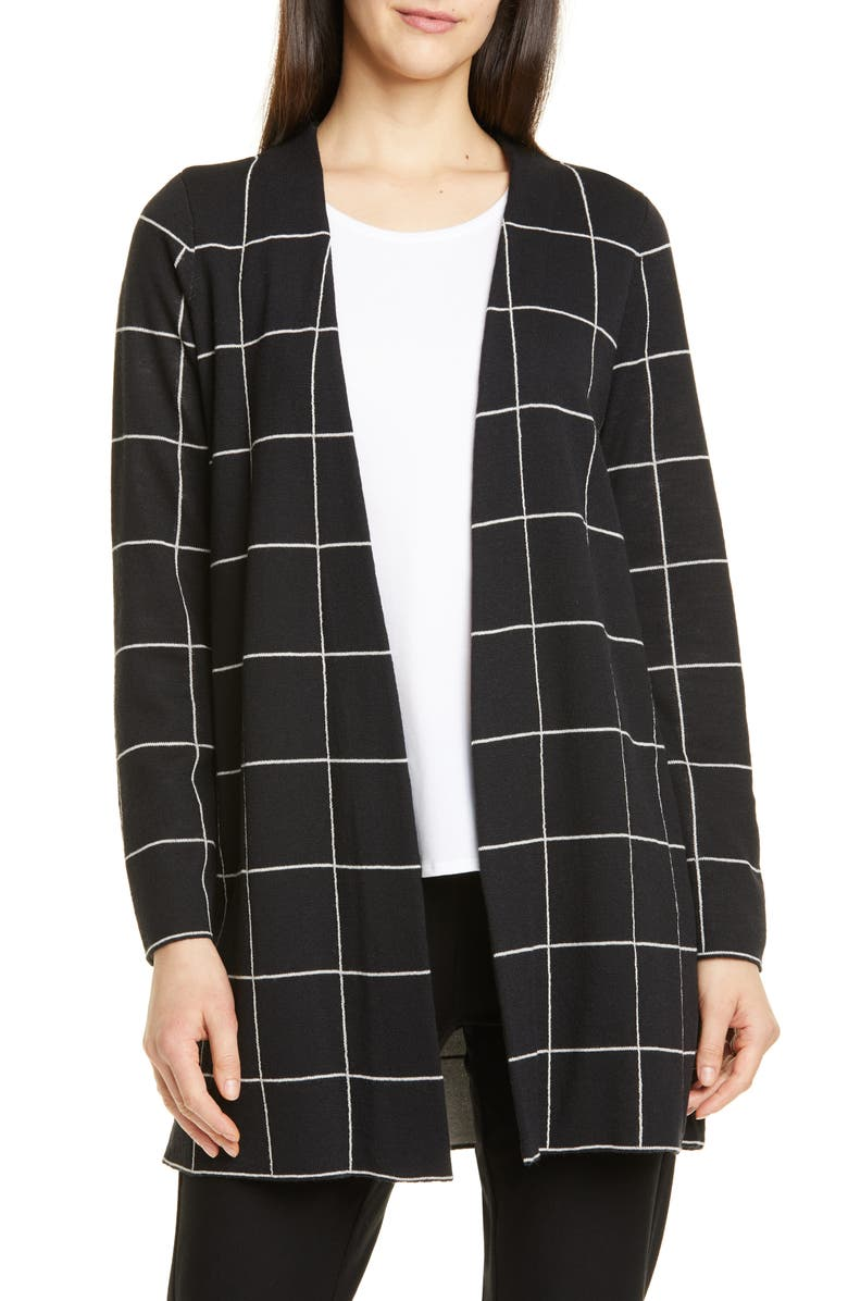 Check Wool Cardigan by Eileen Fisher