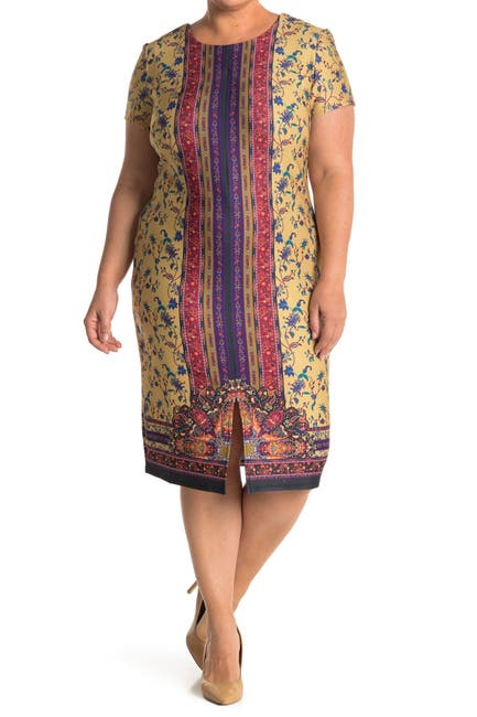 Image of Maree Pour Toi Paisley Stripe Floral Short Sleeve Midi Dress