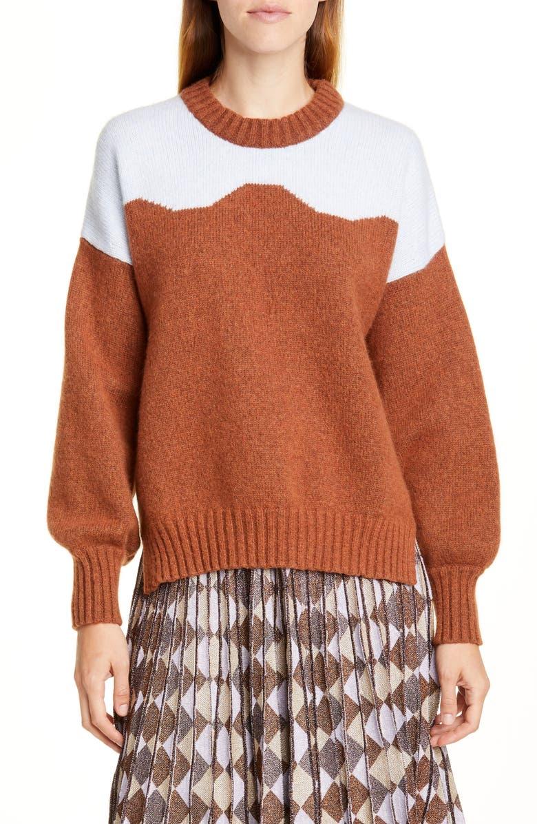 BAUM UND PFERDGARTEN Cirkeline Sweater, Main, color, BROWN AND LIGHT BLUE