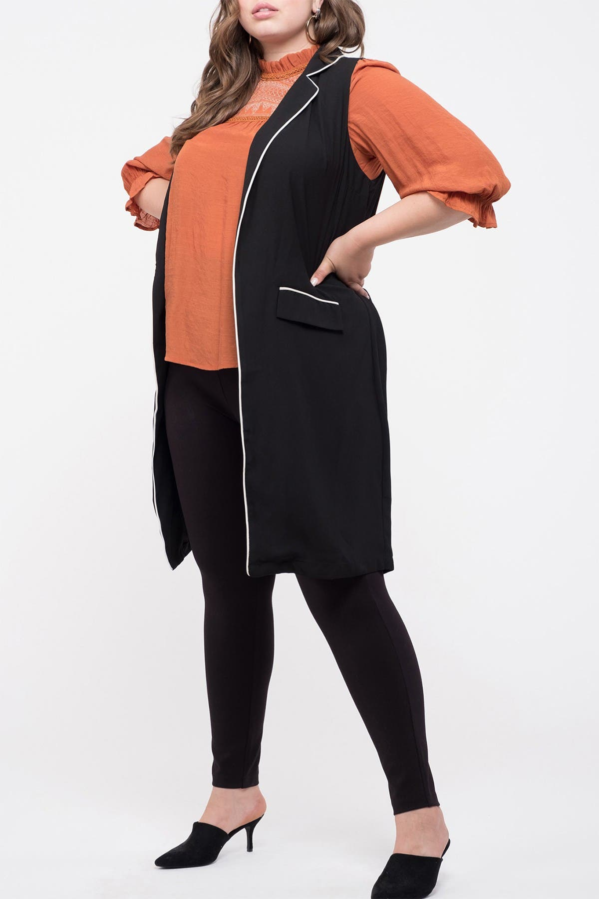 Blu Pepper Contrast Sleeveless Long Vest