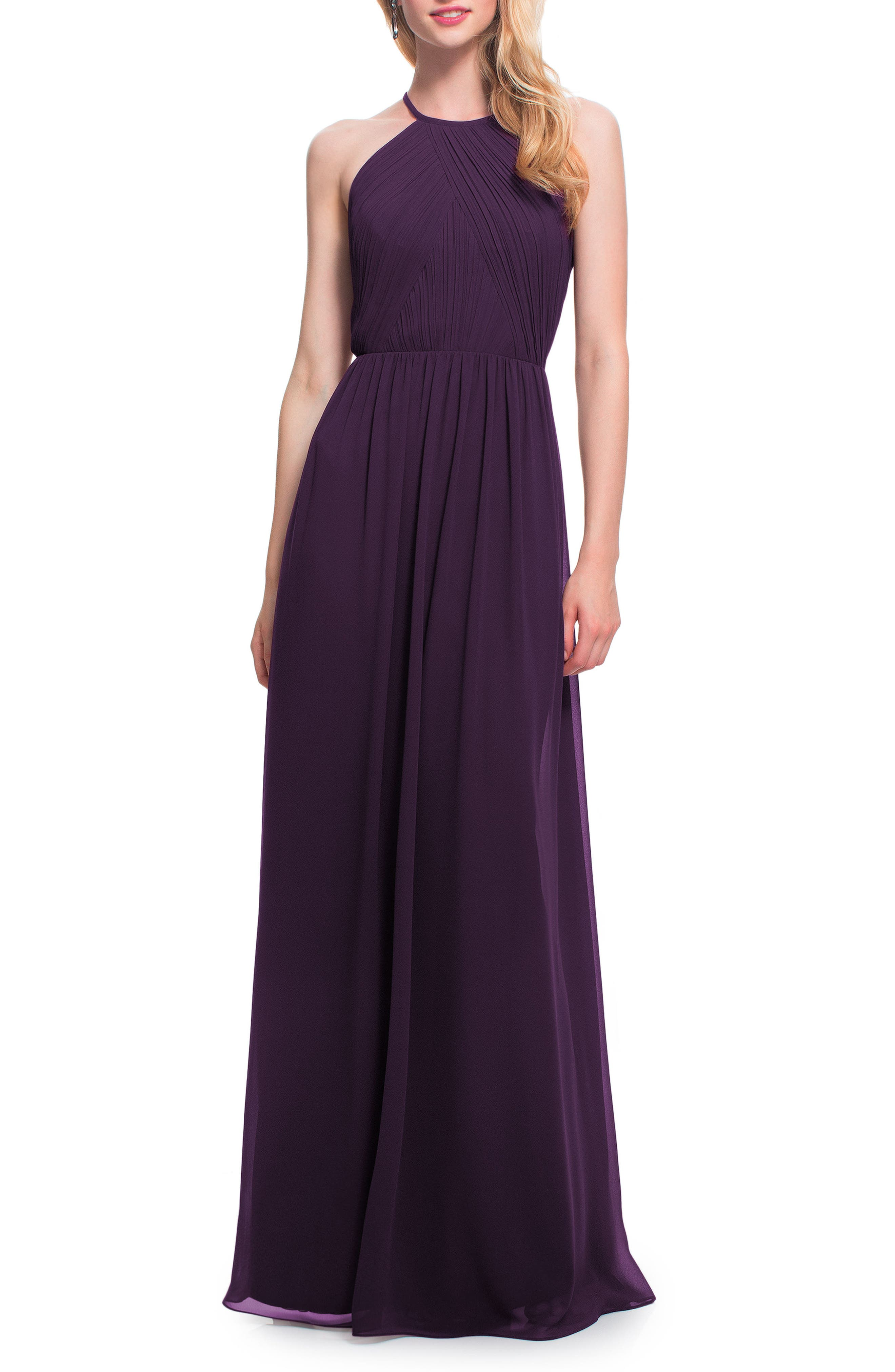 #levkoff Open Back Halter Neck Chiffon Gown, Purple