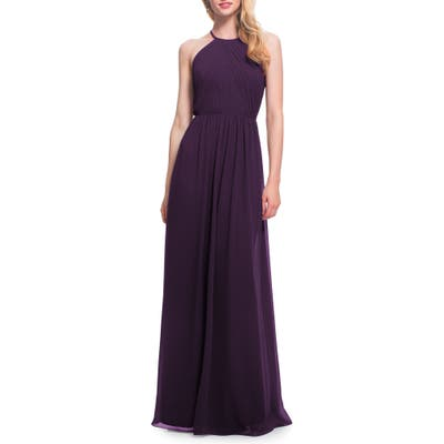 #levkoff Open Back Halter Neck Chiffon Gown, Purple