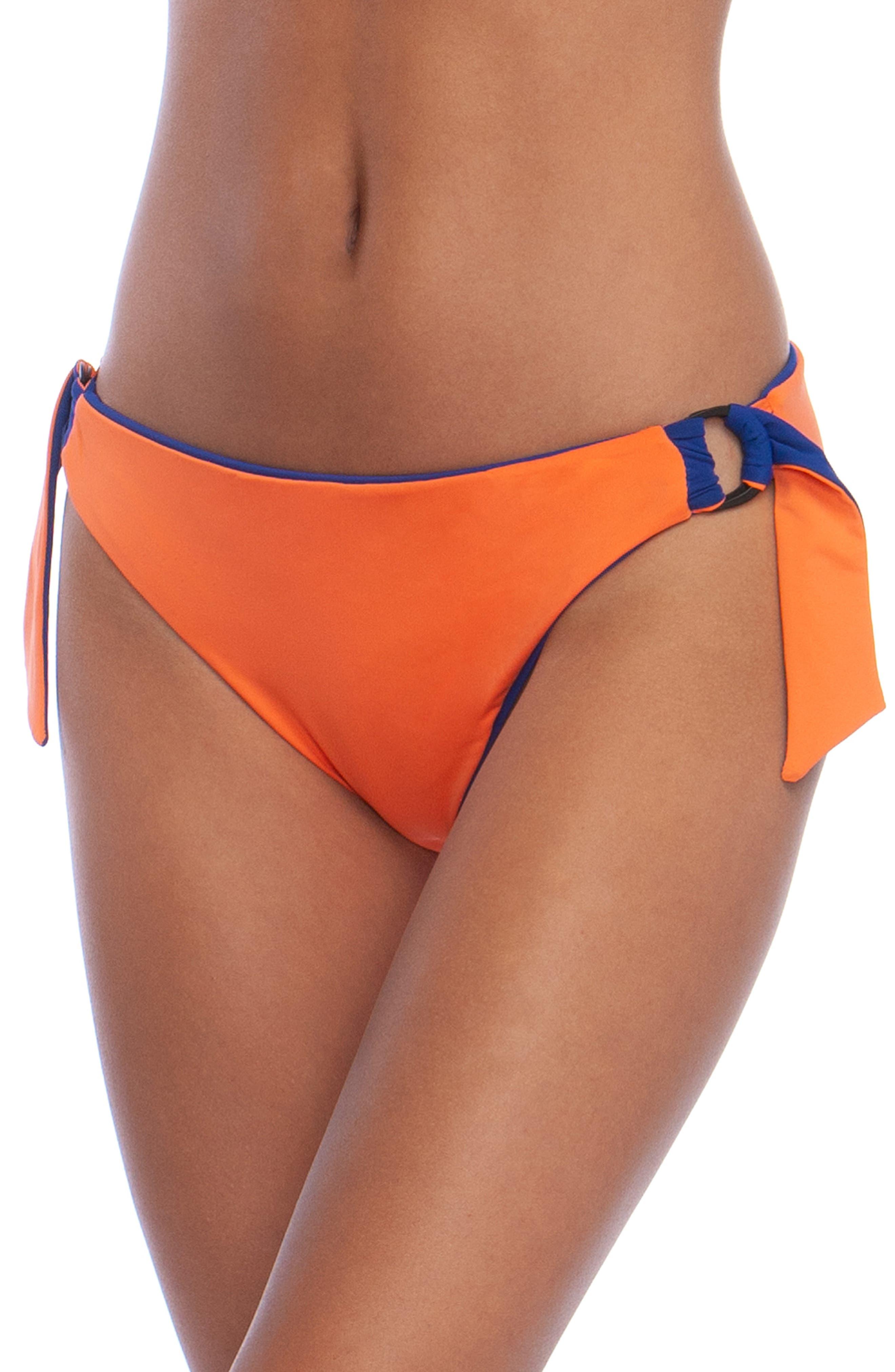 The Bikini Lab Sonic Boom Reversible Hipster Bikini Bottoms, Coral