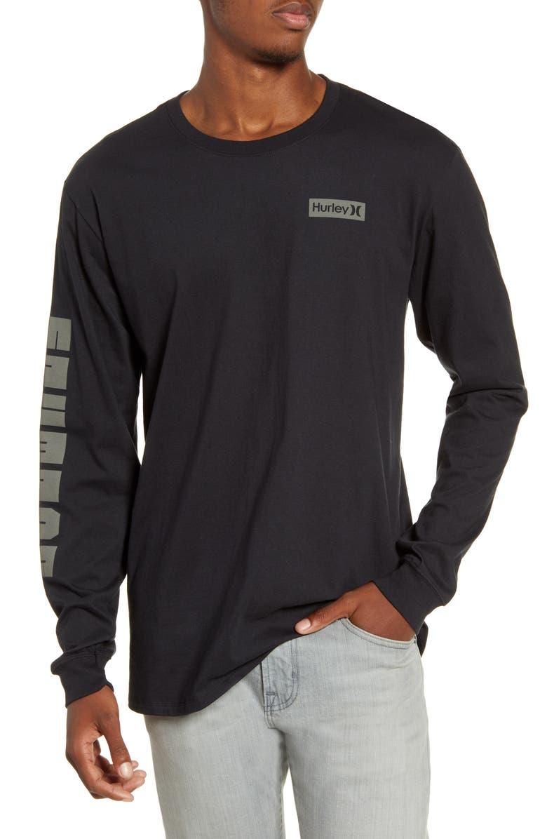 HURLEY Machado Bonsai Graphic Long Sleeve T-Shirt, Main, color, BLACK