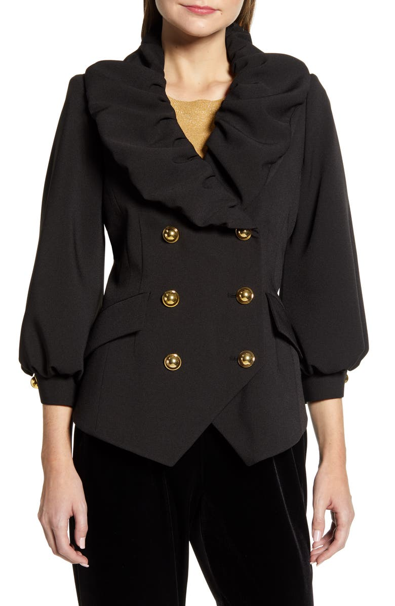 HALOGEN<SUP>®</SUP> x Atlantic-Pacific Ruffle Front Blazer, Main, color, BLACK