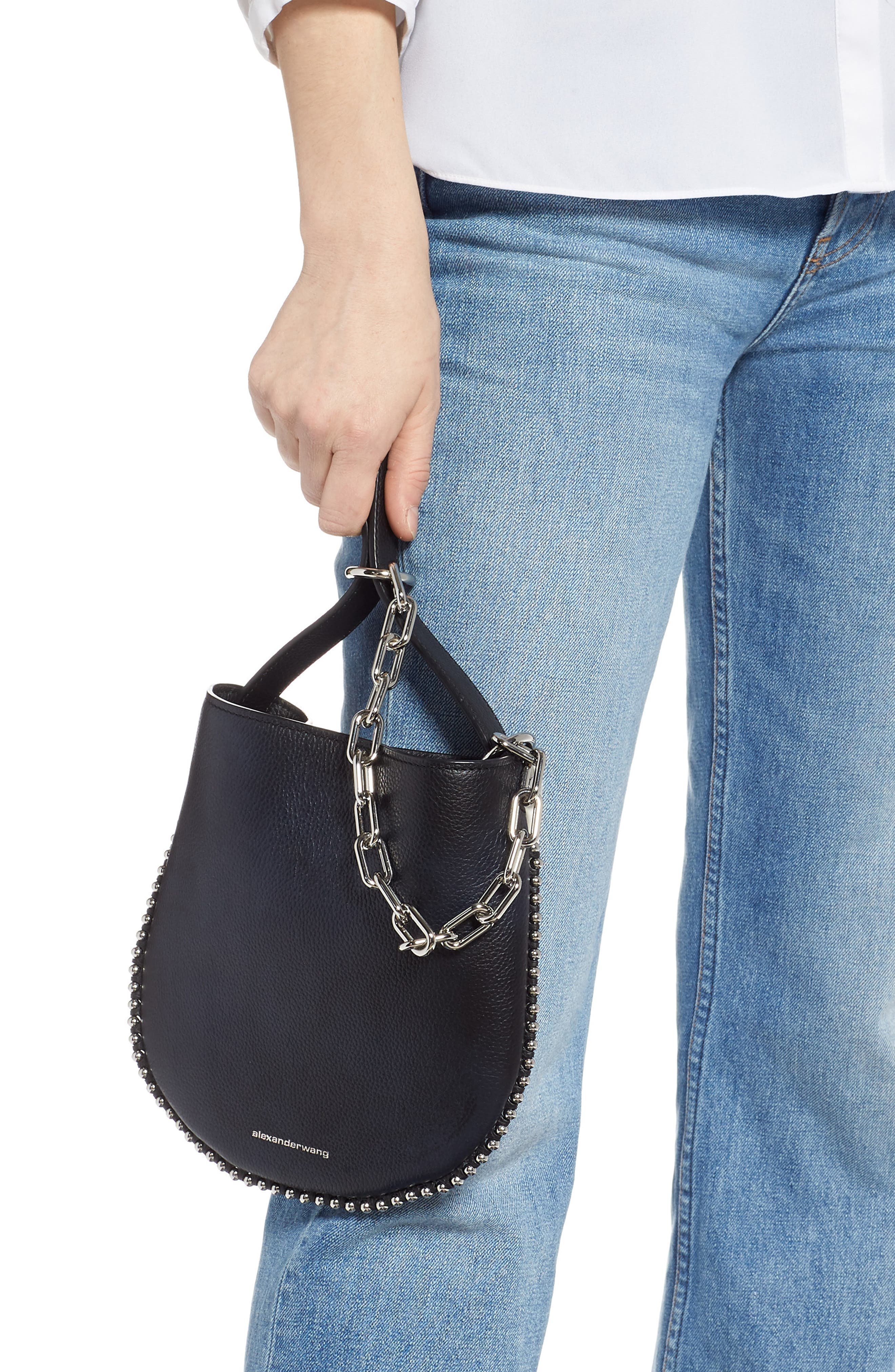 ,                             Mini Roxy Leather Hobo Bag,                             Alternate thumbnail 3, color,                             BLACK/ WHITE
