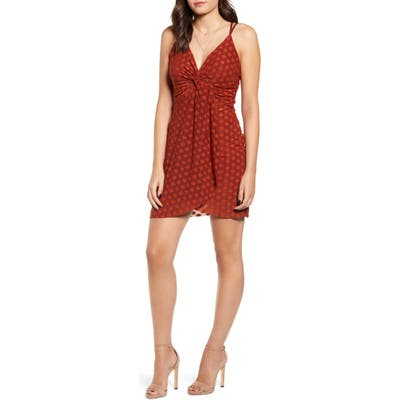 J.o.a. Strappy Twist Front Minidress, Brown