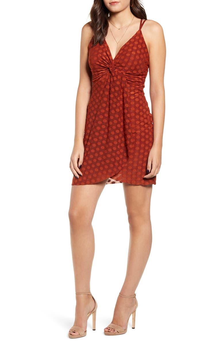 J.O.A. Strappy Twist Front Minidress, Main, color, BROWN