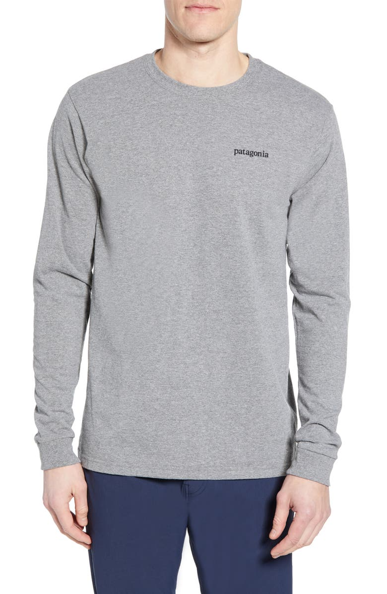 PATAGONIA Line Logo Long Sleeve Responsibili-Tee T-Shirt, Main, color, GRAVEL HEATHER
