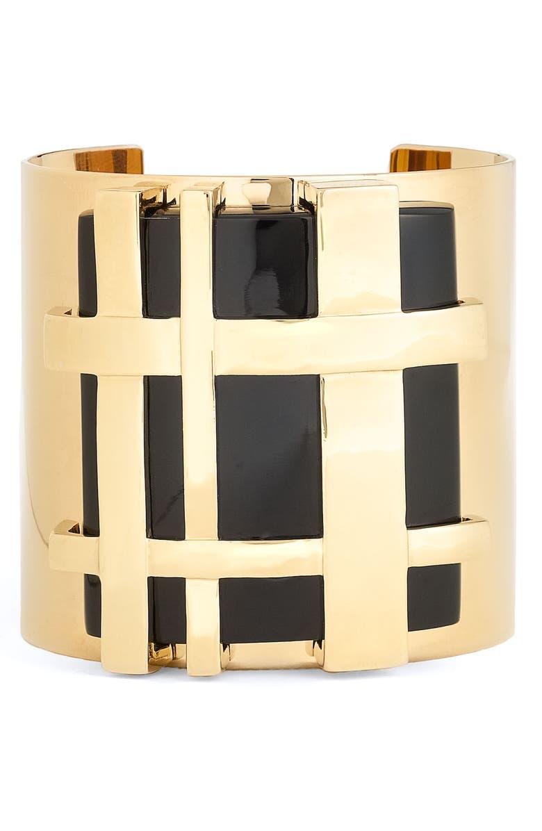 TORY BURCH 'Gingham' Cuff Bracelet, Main, color, 001