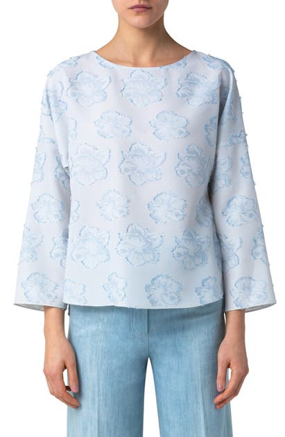 AKRIS PUNTO FLOWER FIL COUPE BLOUSE