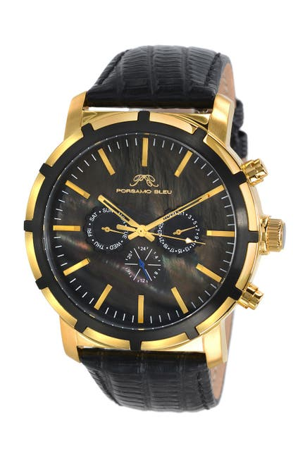 Image of Porsamo Bleu Men's NYC Embossed Leather Swiss Quartz Watch, 47mm