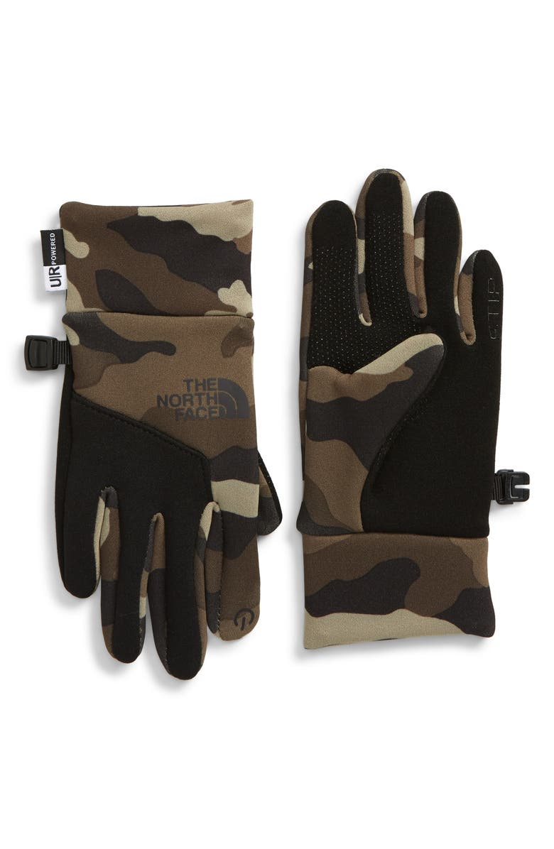 THE NORTH FACE Denali Etip Gloves, Main, color, BURNT OLIVE GREEN WOODS CAMO P