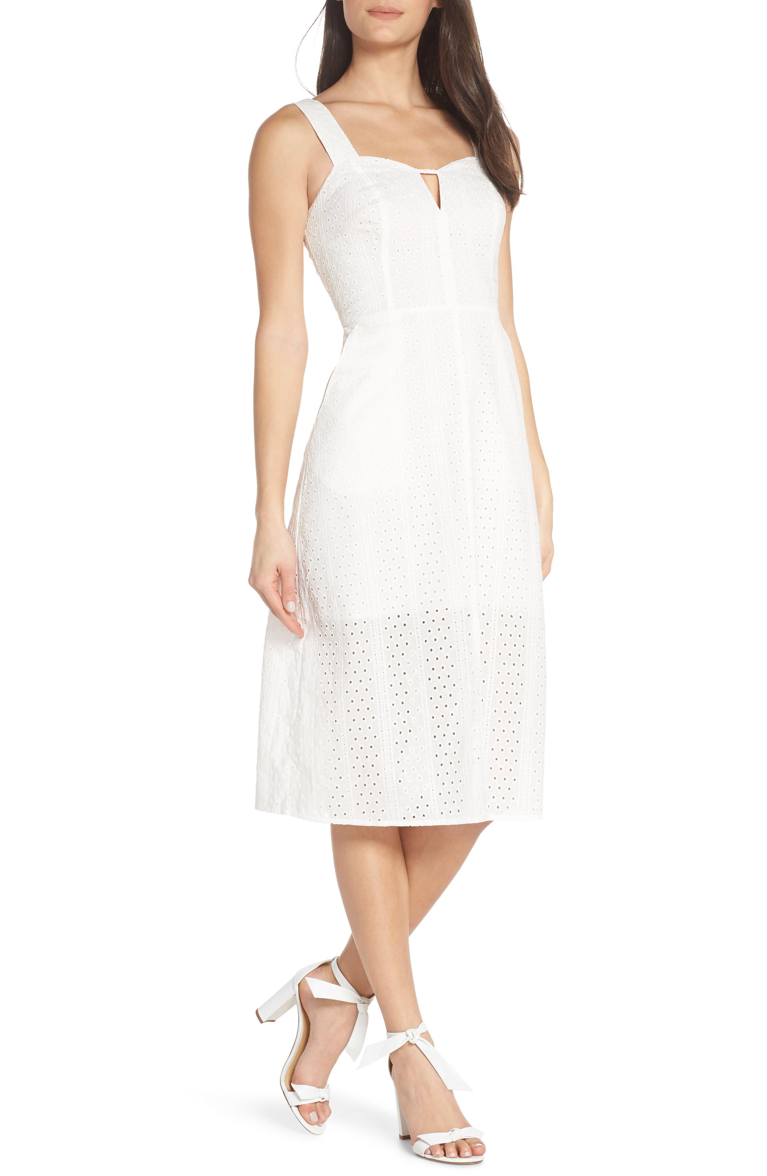 ,                             Look My Way Eyelet Midi Dress,                             Main thumbnail 1, color,                             WHITE