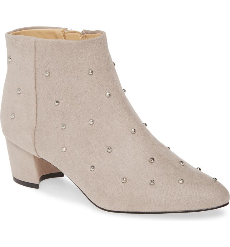 KATY PERRY The Aurora Embellished Bootie, Main, color, DOVE GREY FAUX LEATHER
